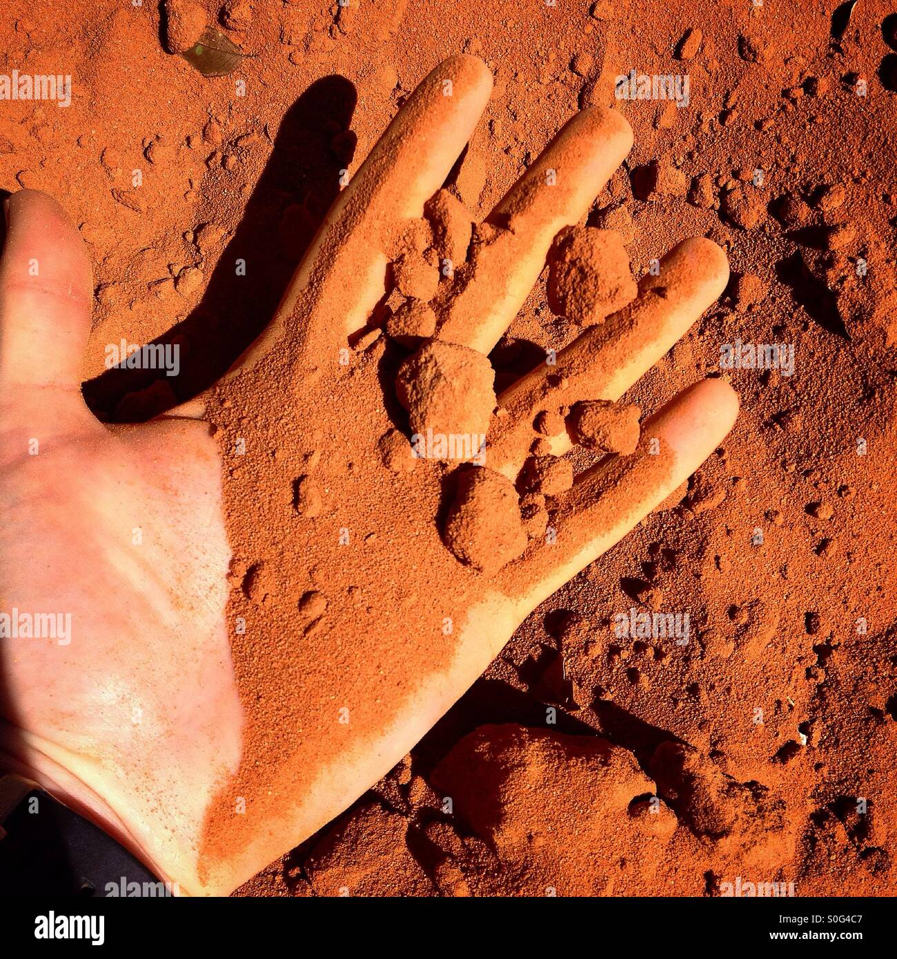 Red dirt of Australia. The red colour is due to the dry oxidising ...