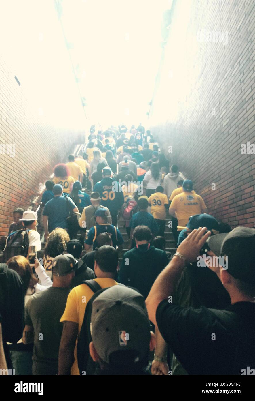 Warriors parade crowd leaving the BART - Stock Image