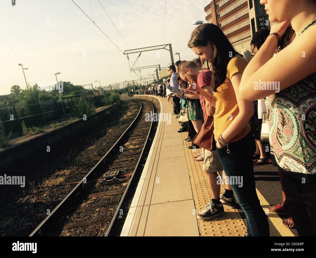Hottest day of the decade 1st July. Commuter woes. - Stock Image
