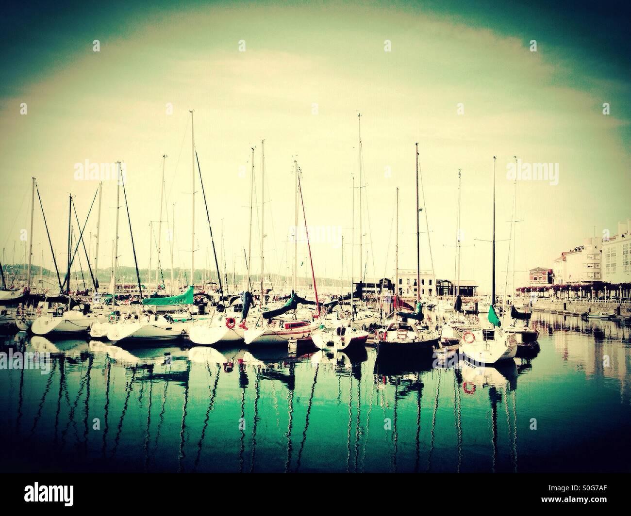 Harbor in Gijon, Asturias - Spain - Stock Image