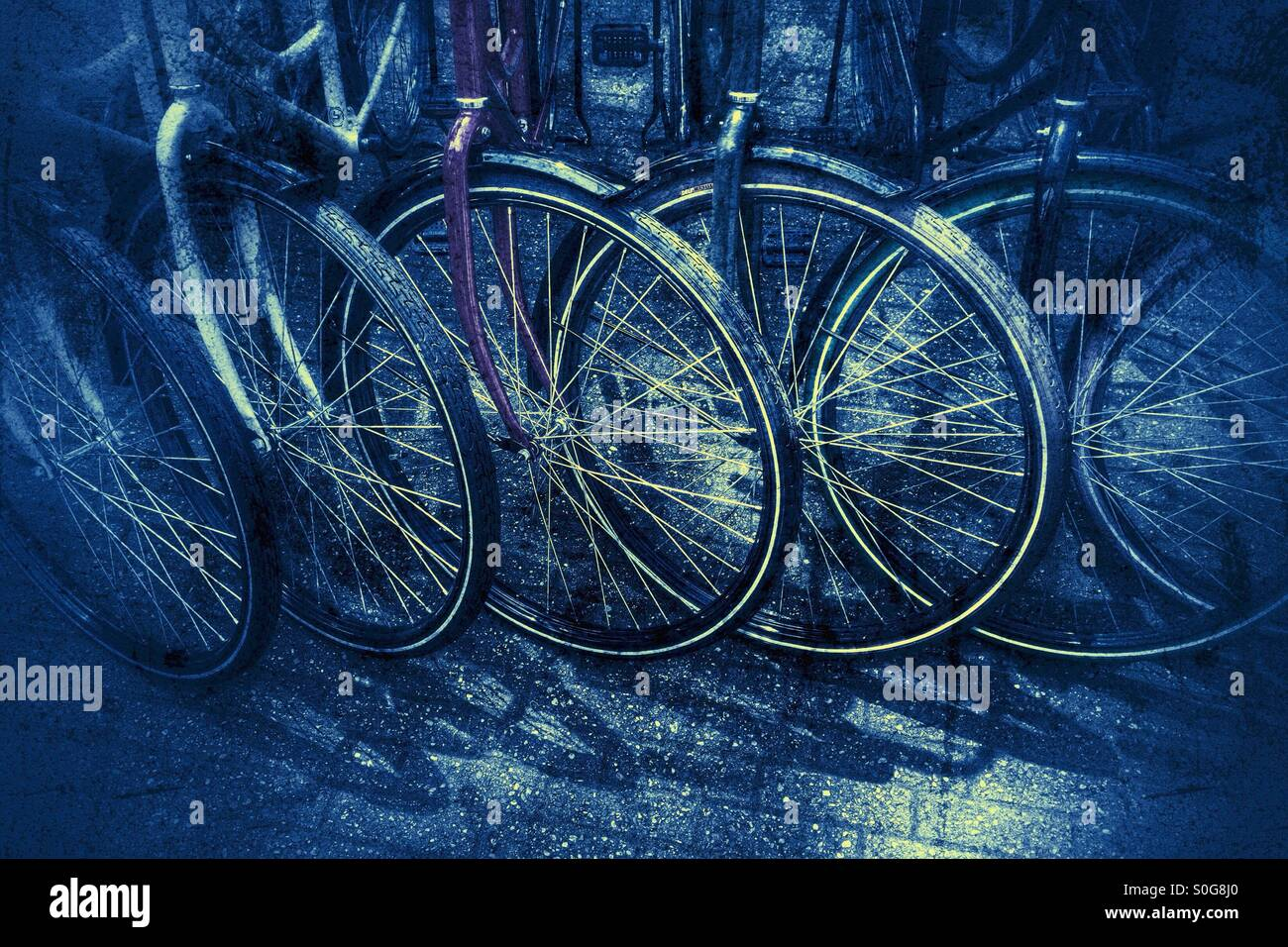 A row of bicycle wheels - Stock Image