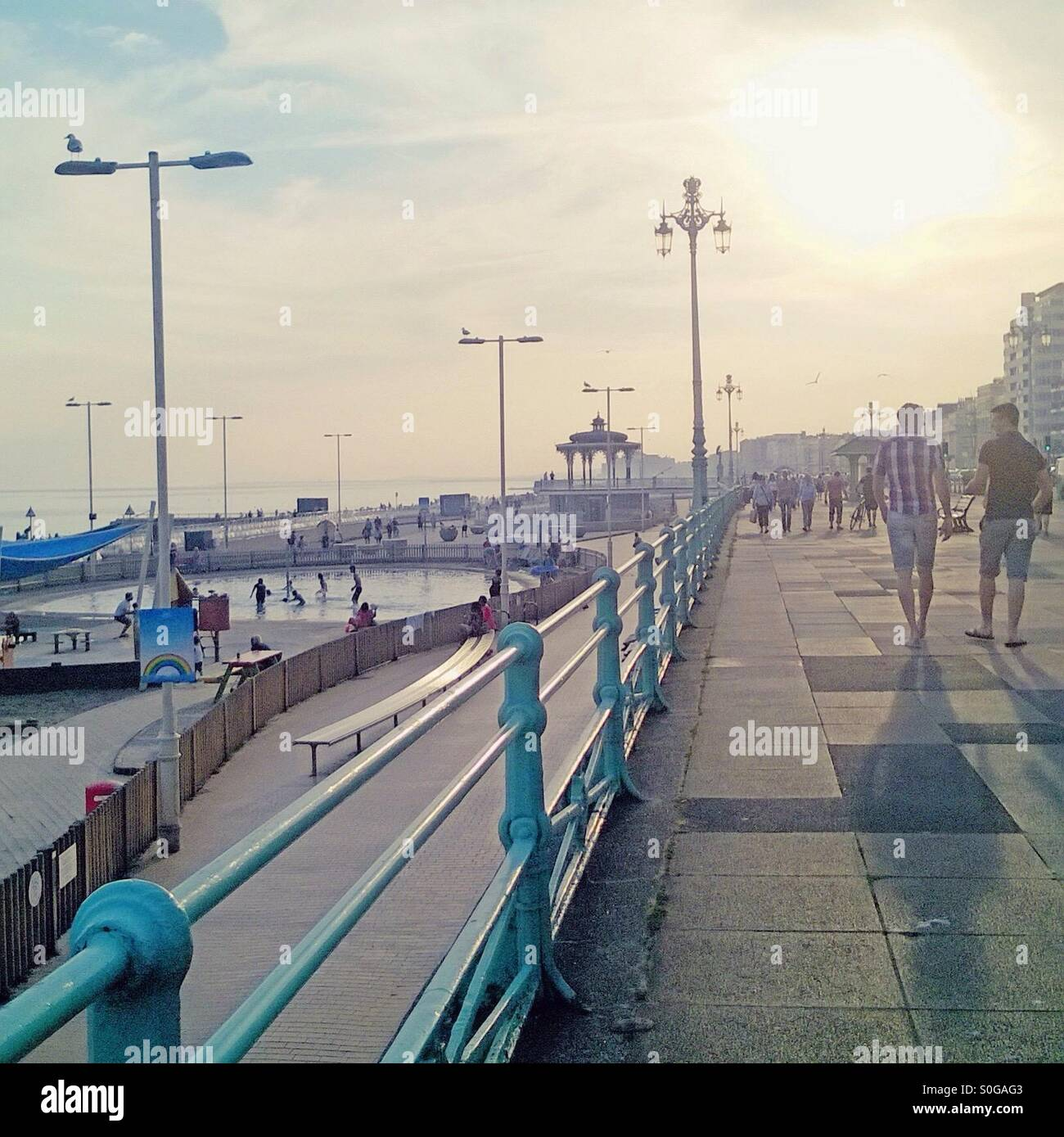 Brighton seafront promenade on Wednesday 1 July 2015, the hottest July day recorded in the UK. Stock Photo