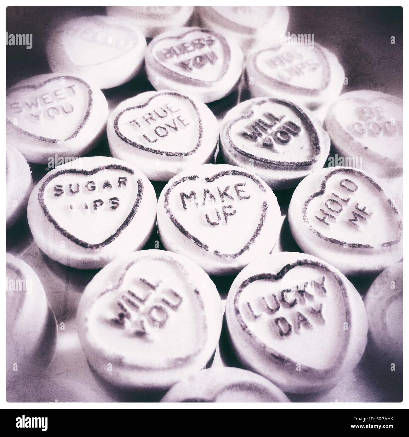 Love heart sweets. - Stock Image