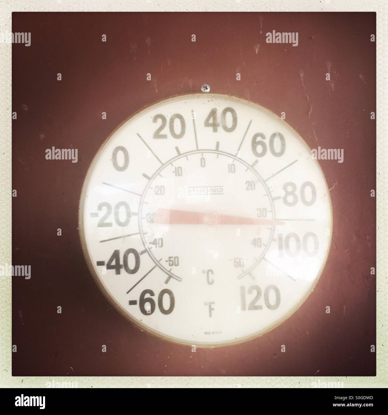 A temperature gage. - Stock Image
