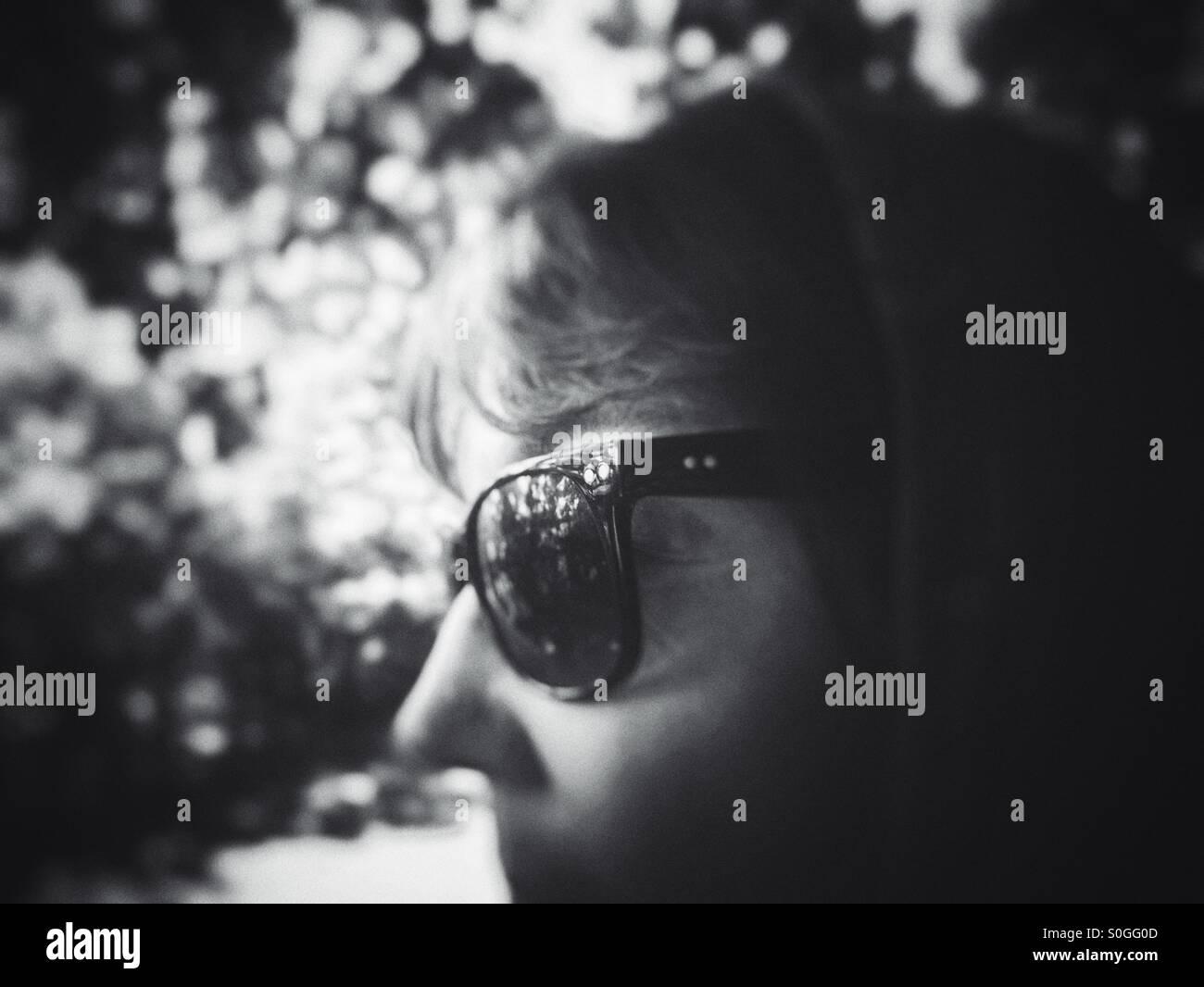 eyes, eyewear, fashion, people, portrait, sunglasses, women, dark, ray ban, middle, age, aged, enigmatic, shades - Stock Image