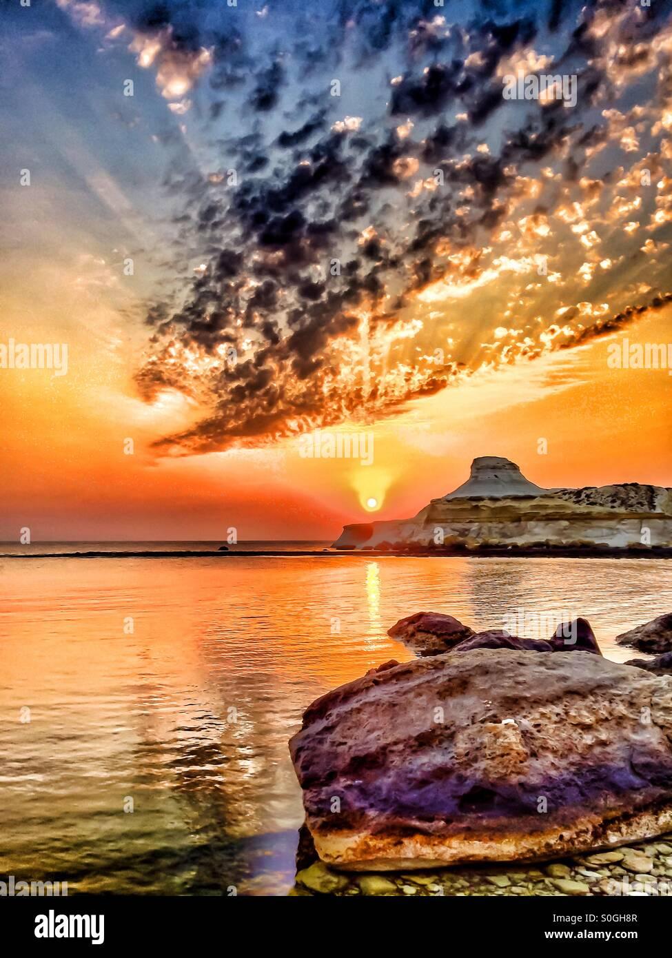 Dramatic seascape at Dawn - Stock Image