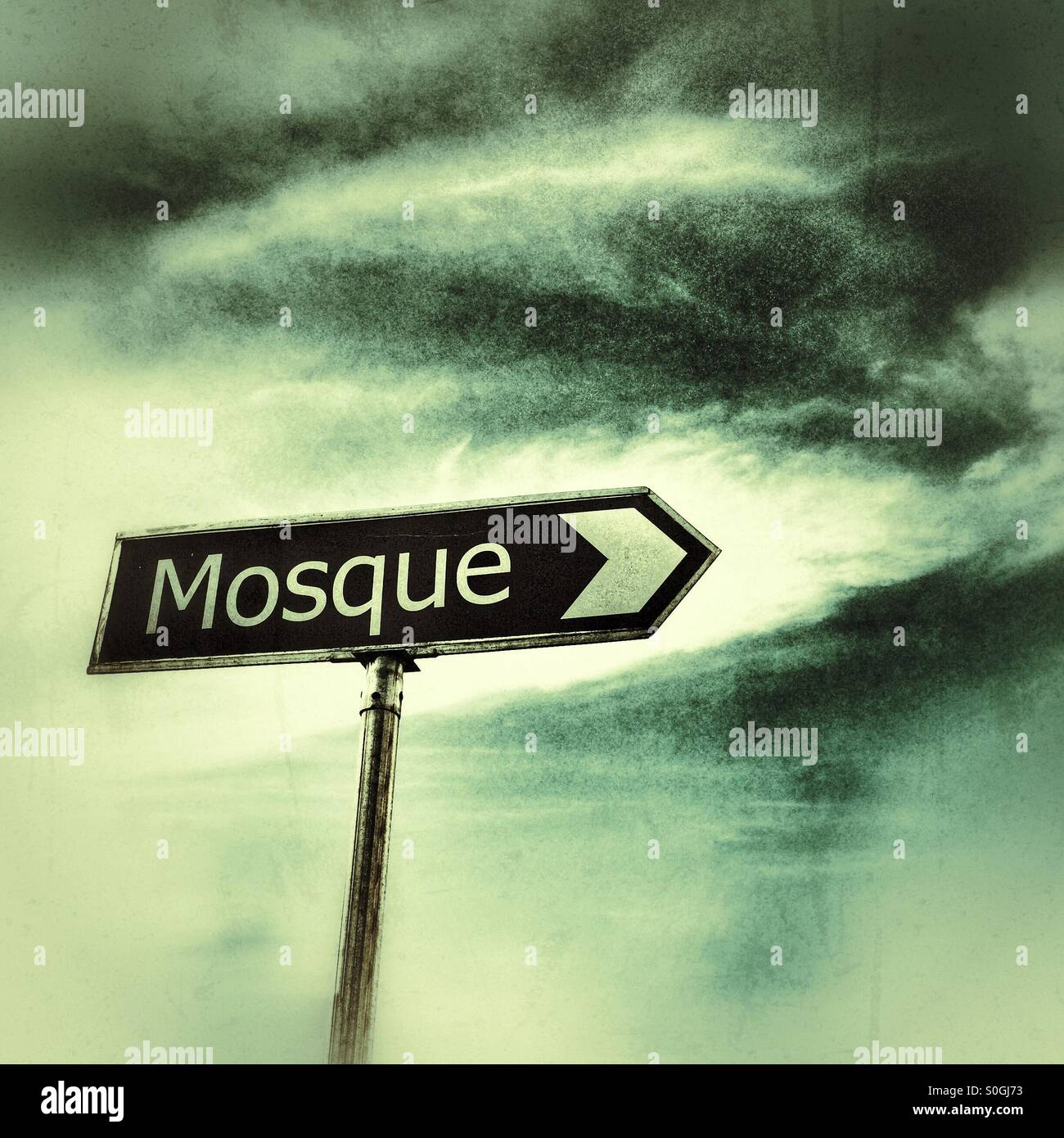 Mosque sign. - Stock Image