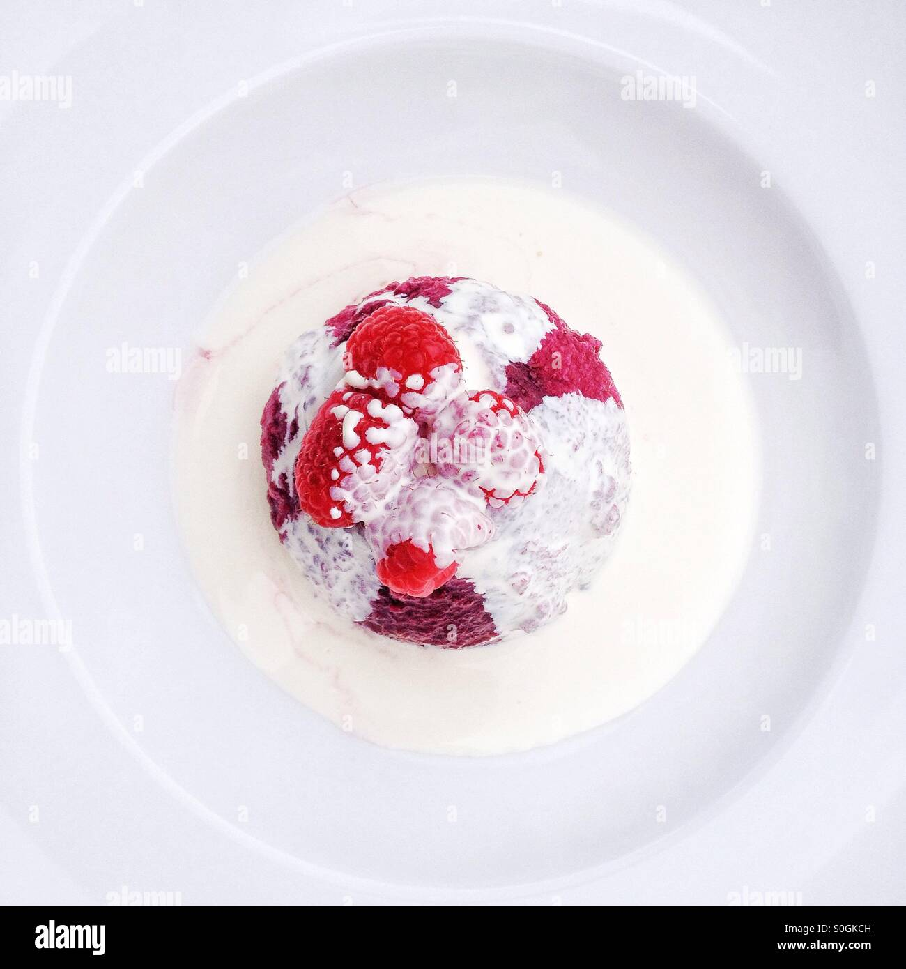 Summer pudding with cream. - Stock Image