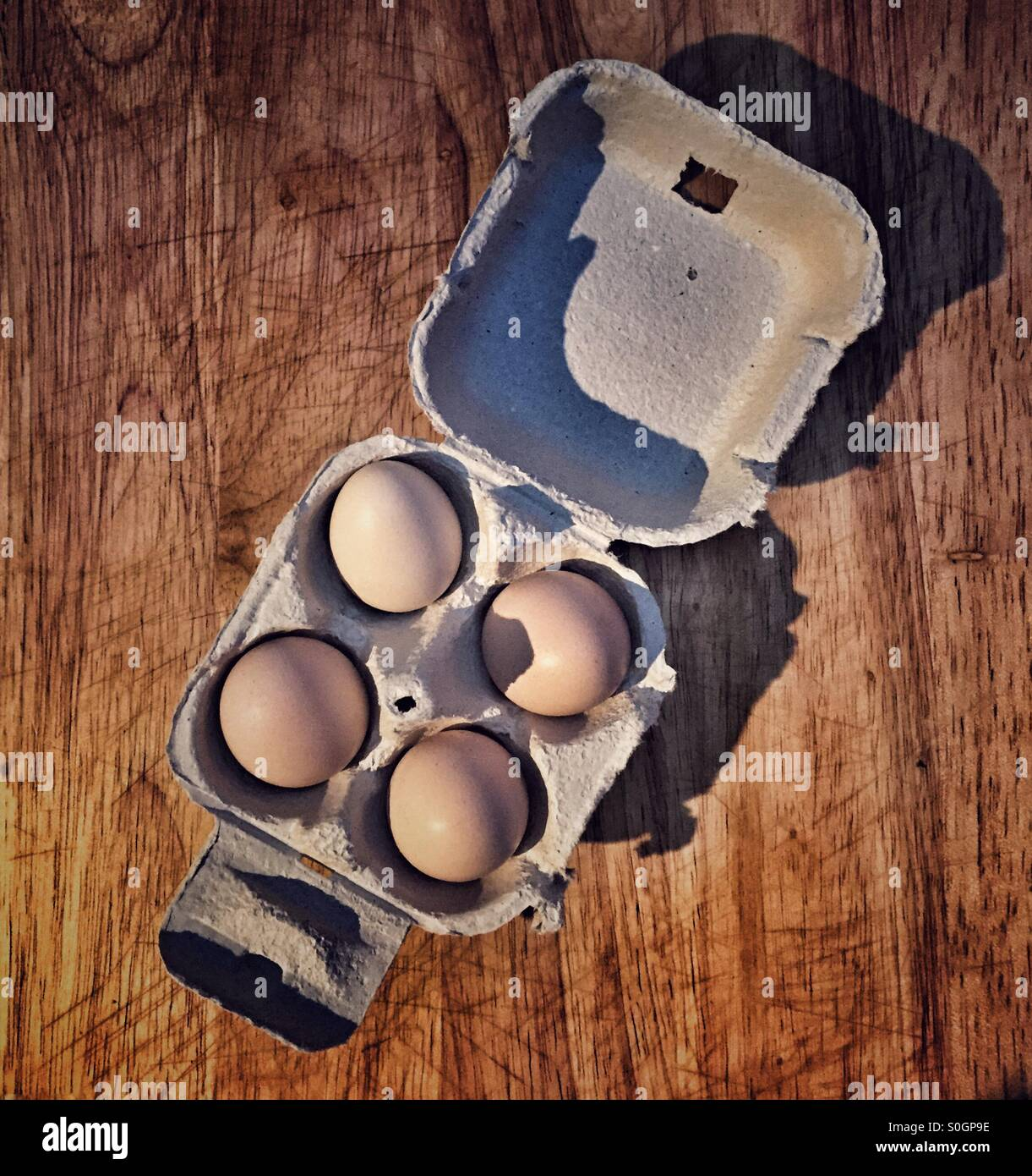 Quartet of home-produced bantam eggs - Stock Image