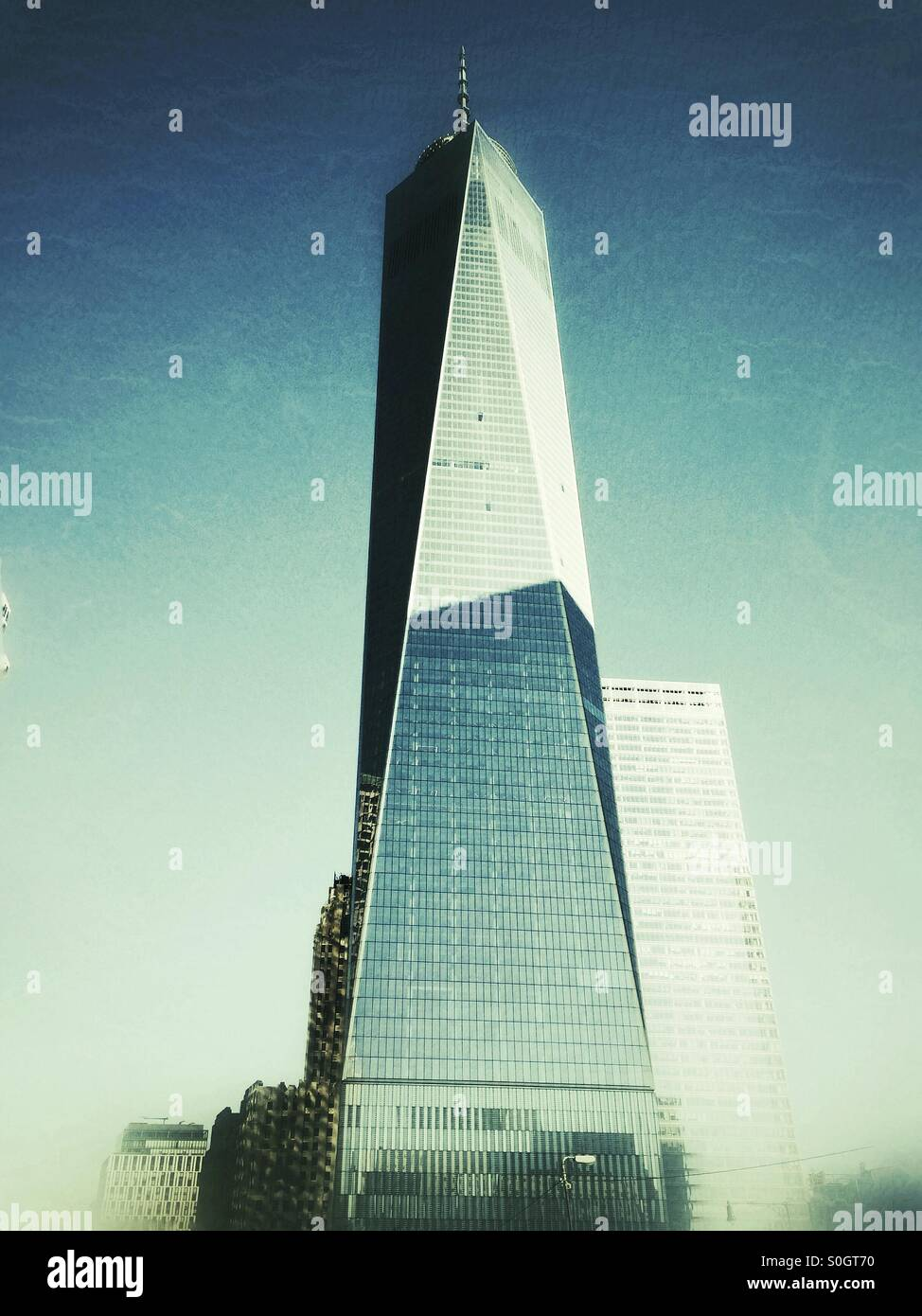 Low angle view of the Freedom Tower set against a blue sky. New York City, United States of America. - Stock Image
