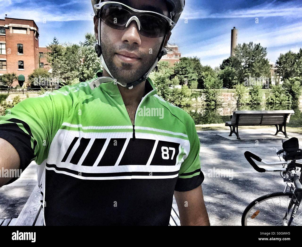 Cyclist selfie - Stock Image