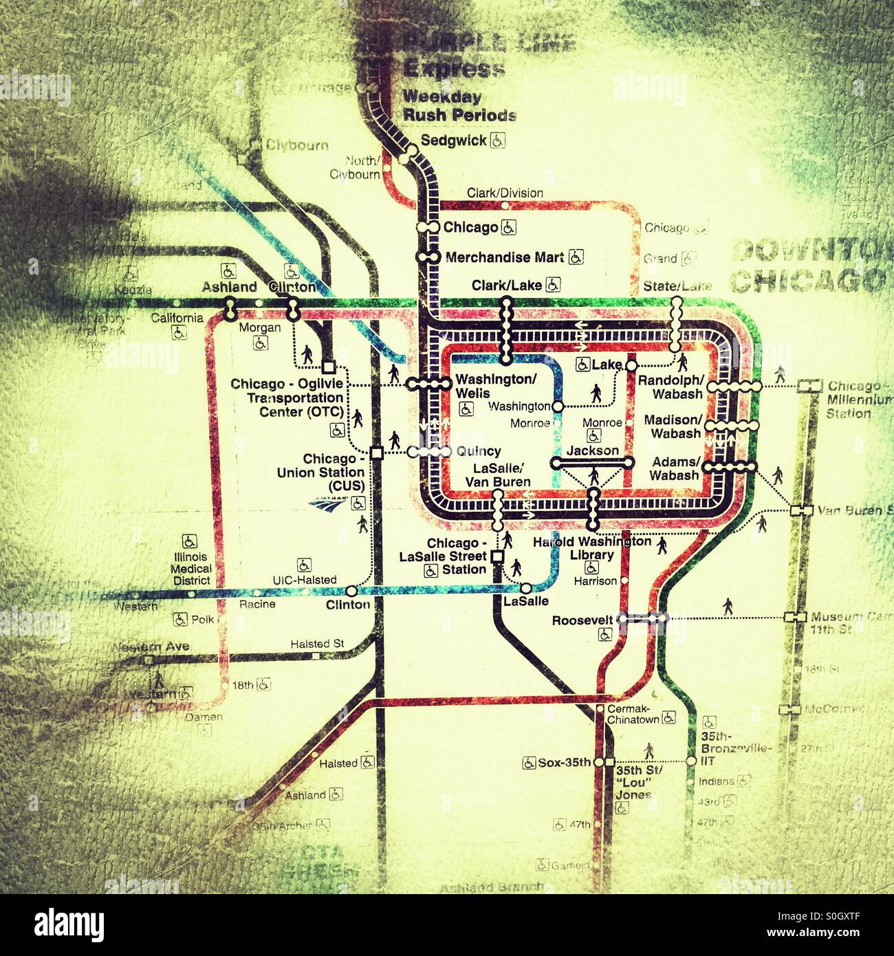 Chicago Subway Map With Streets.Chicago Transit Authority Stock Photos Chicago Transit Authority