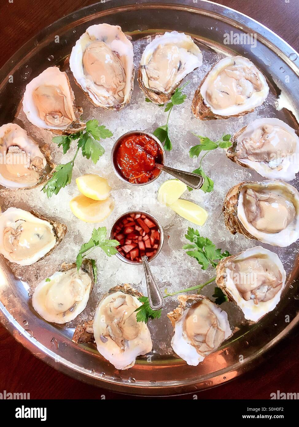 Raw oysters on the half shell platter - Stock Image