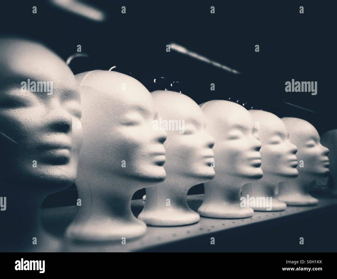 Mannequin heads made of styrofoam lined up - Stock Image