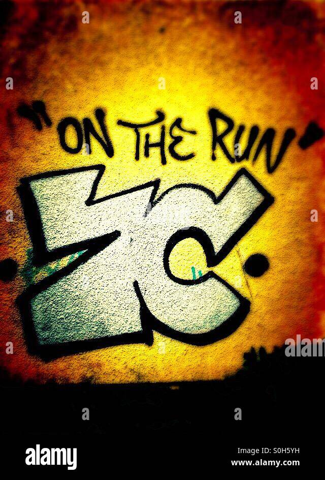 'On the Run' ZC, Graffiti in vibrant colours - Stock Image