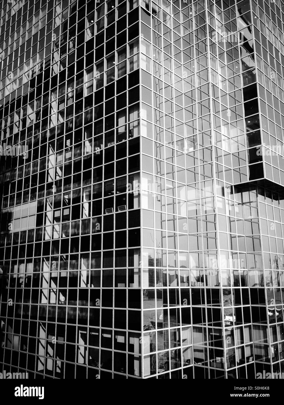 80s glass square wall office building Stock Photo