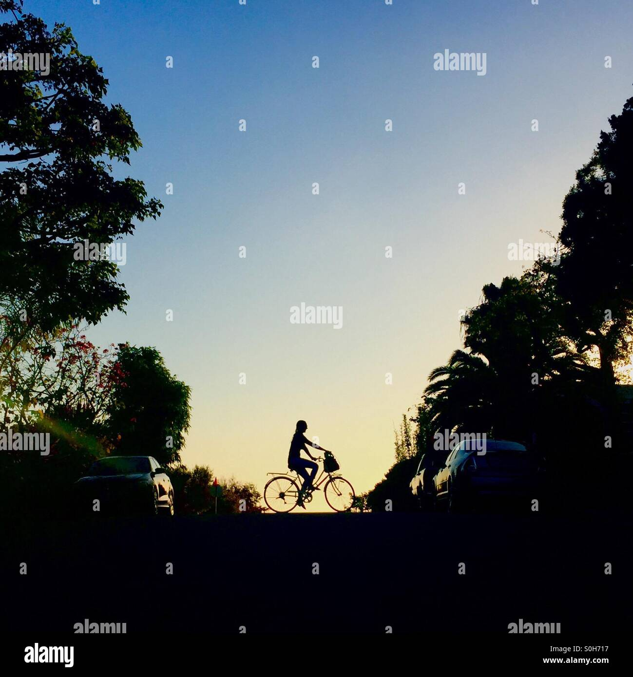 Silhouette of a girl riding a bike - Stock Image
