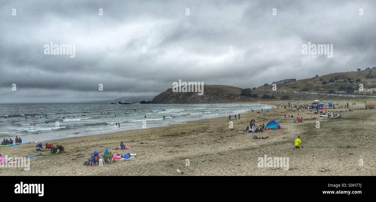 Beach crowds on Saturday - Stock Image