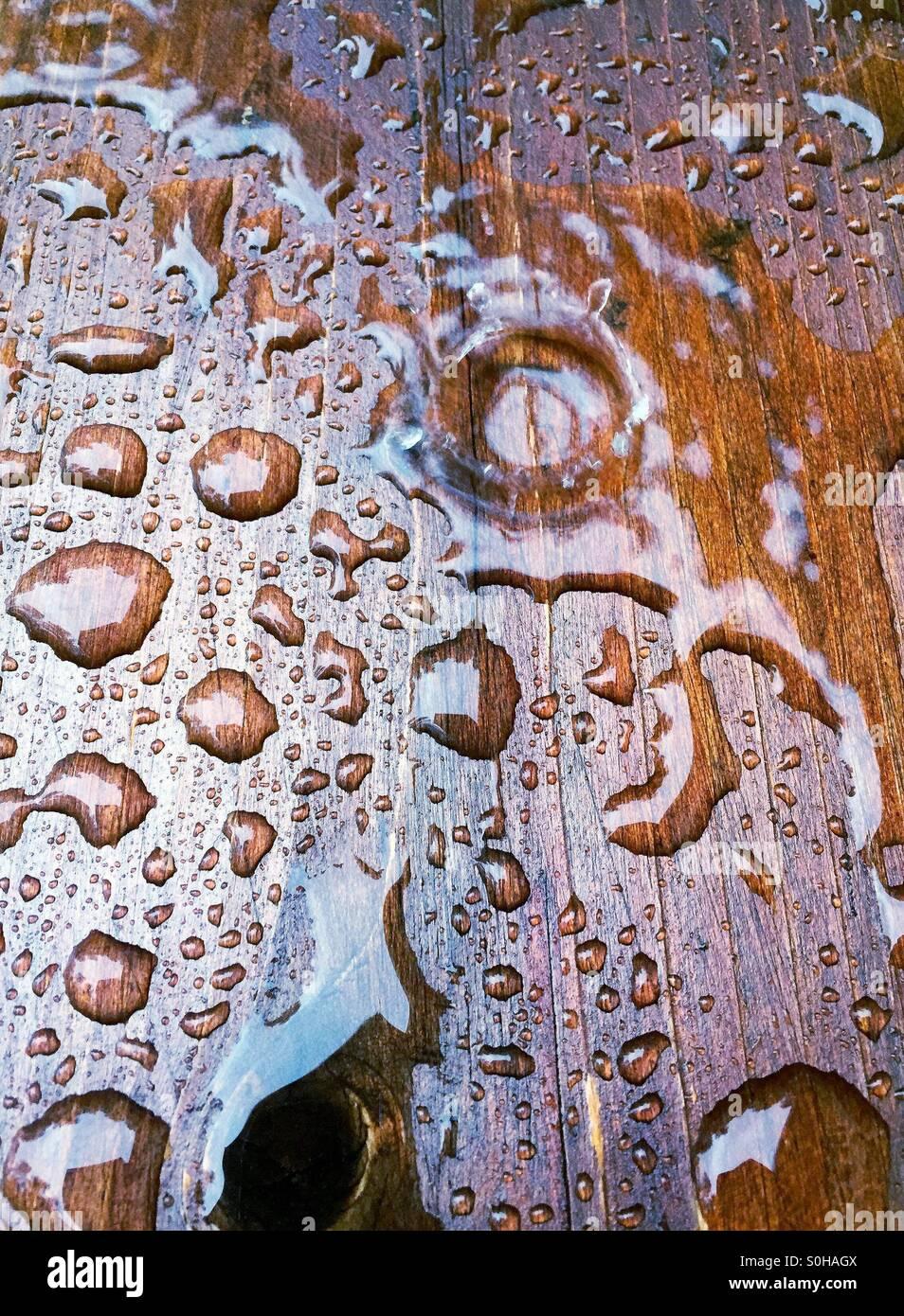 Rain drops on wood - Stock Image