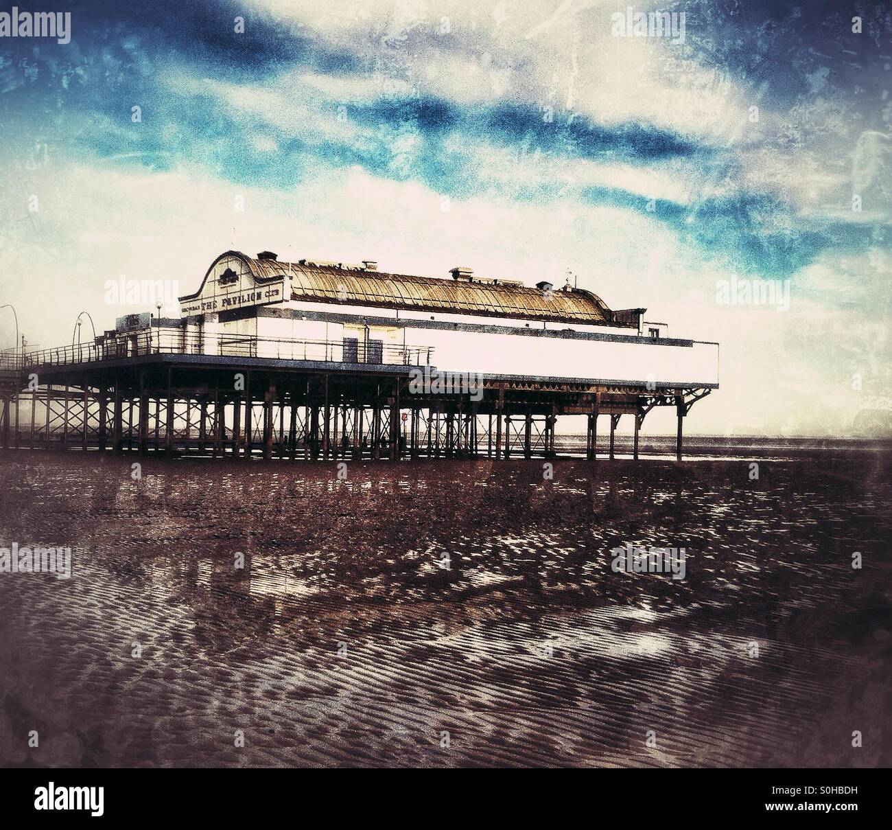 Cleethorpes pier at low tide - Stock Image