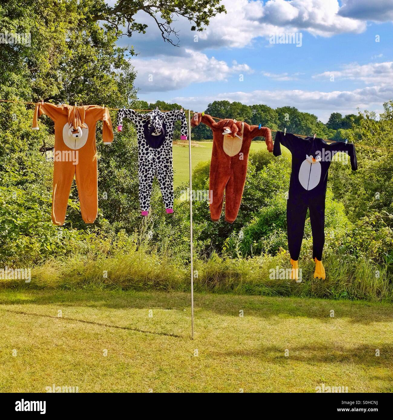 The onesie family - washed animal onesies drying on the clothes line resembling hunted animal skin trophies - Stock Image