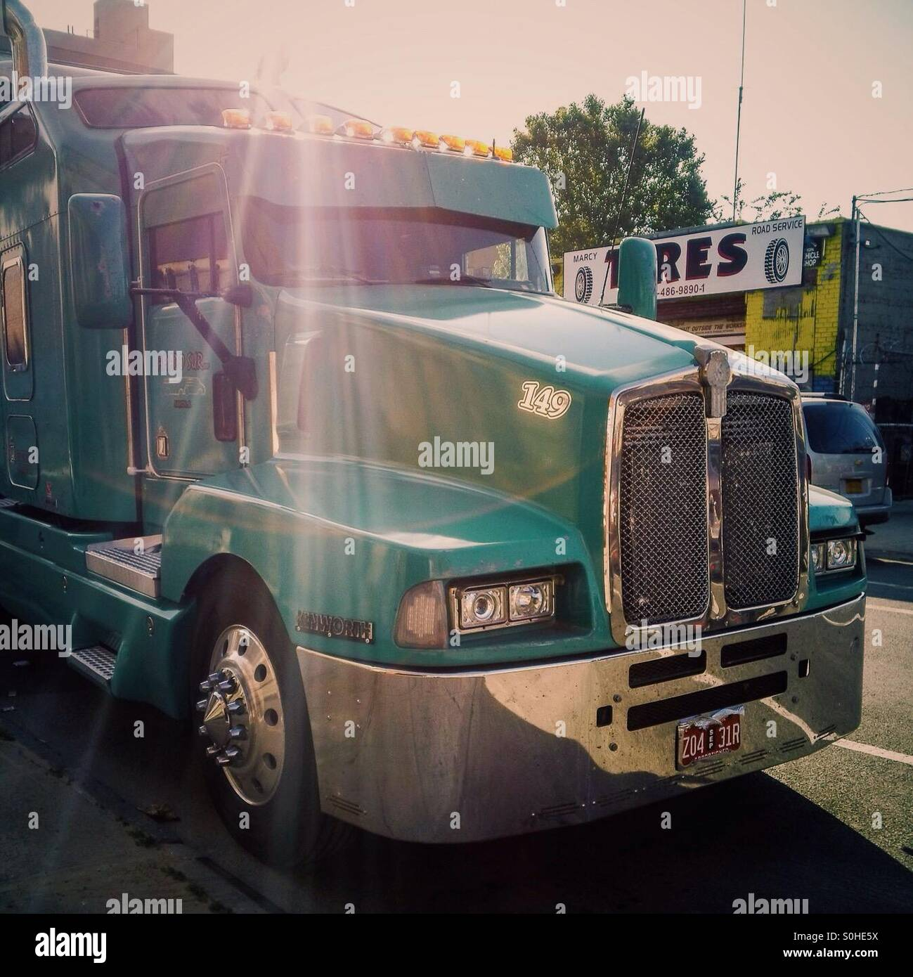 Kenworth Truck parked at a south Williamsburg street in Brooklyn, NY - Stock Image
