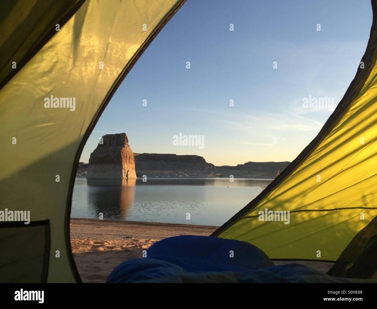 Lake Powell Camping - Stock Image