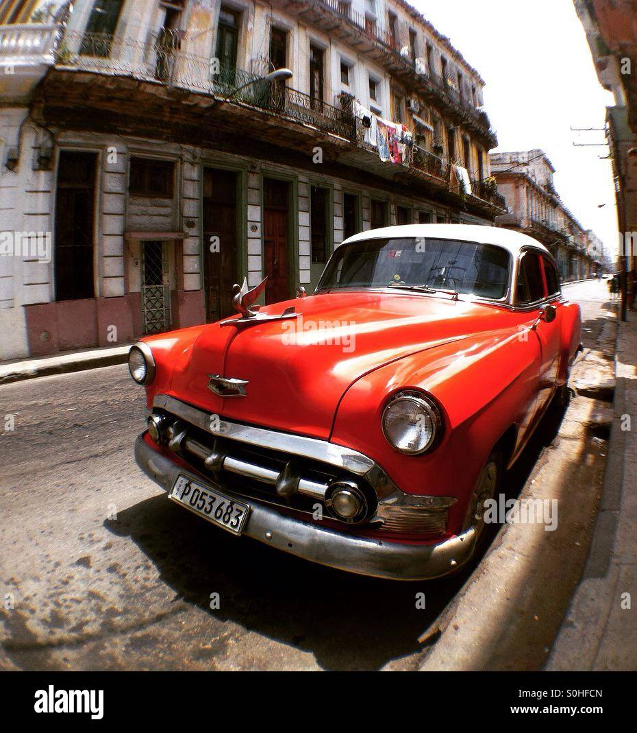 Old car in Havana Cuba - Stock Image