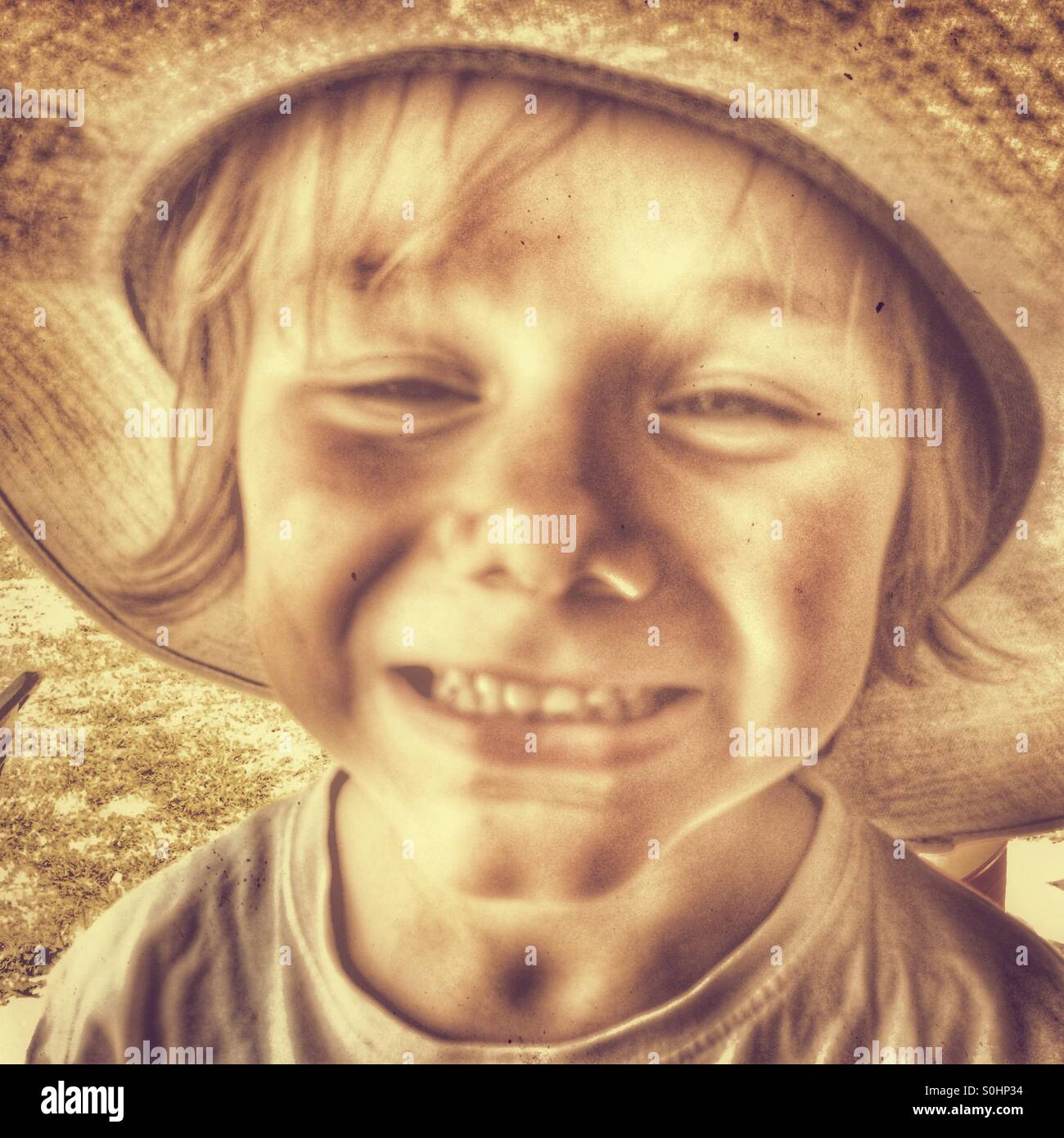 Boy five years old smiling - Stock Image