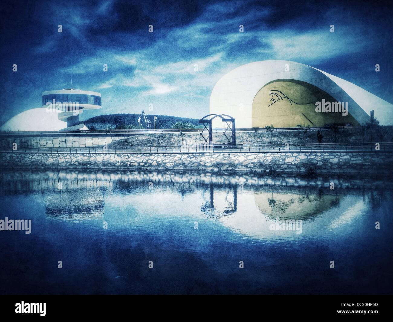 View of Niemeyer Center, Museum and exhibitions Center in Aviles, Asturias, Spain - Stock Image