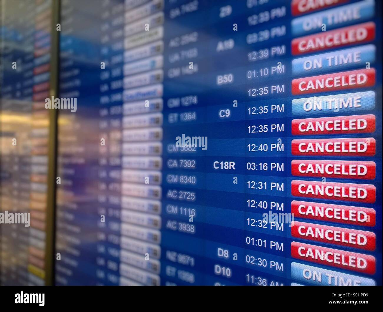 Traffic controller panel at Las Vegas airport during a Blizzard in the north East USA - Stock Image