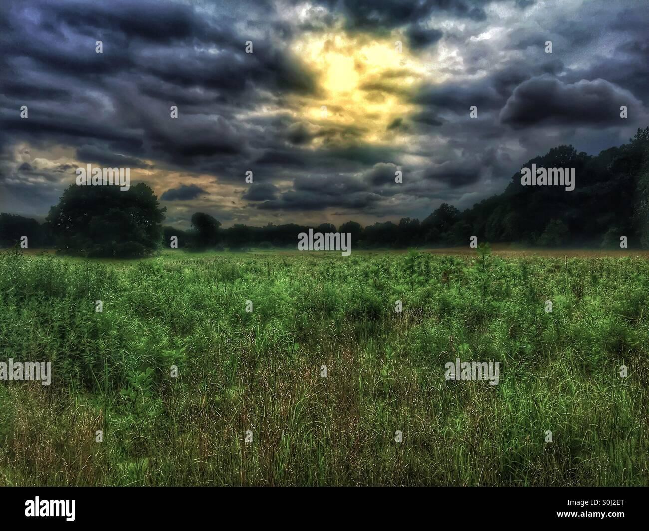 Dark skies at sunrise. - Stock Image