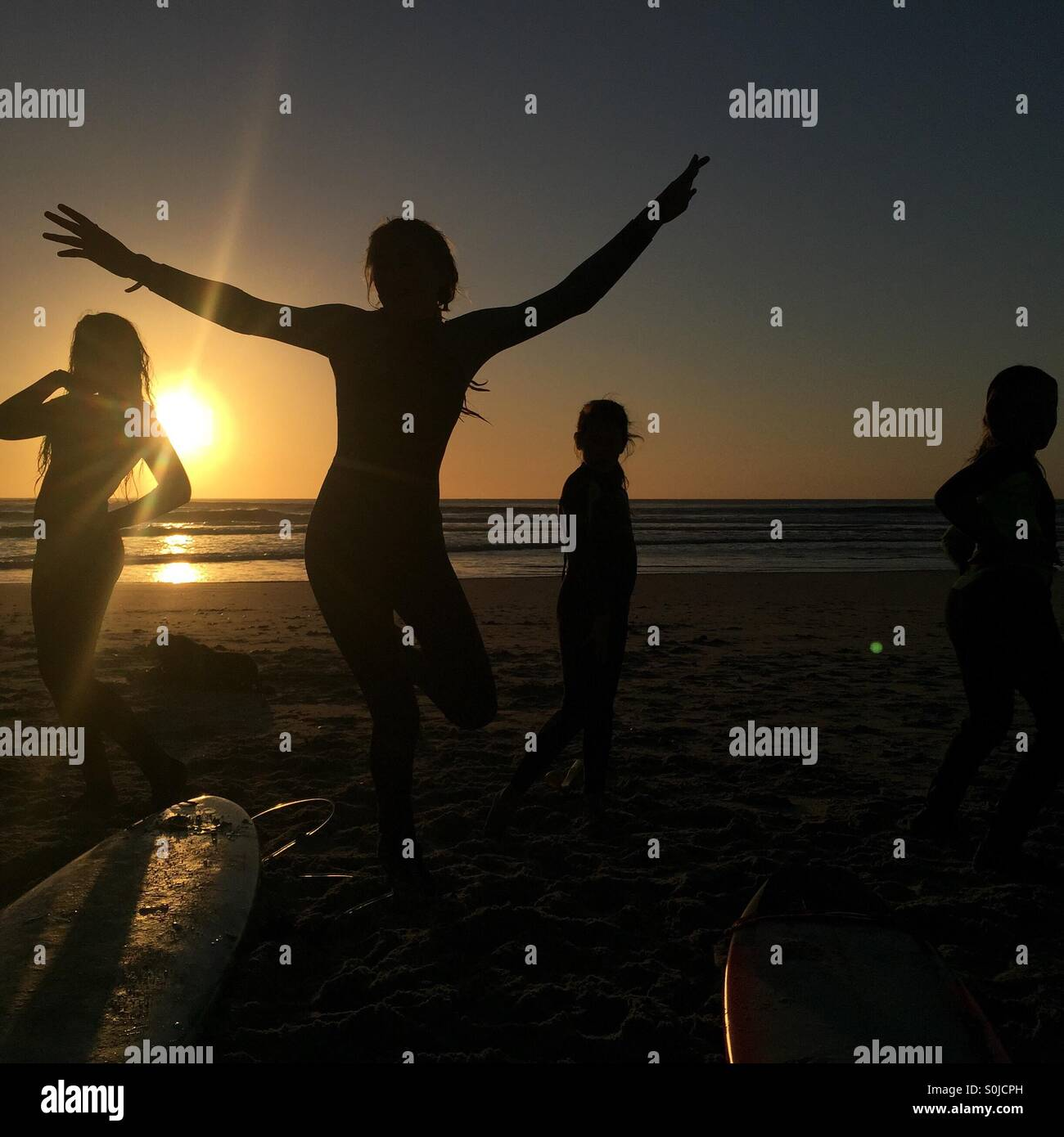 Sunset dancing in the West Coast - Stock Image
