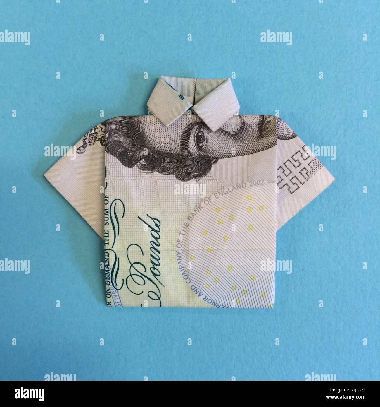 Five pound origami shirt - Stock Image