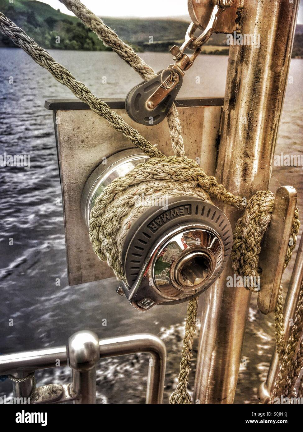 Winch and rope - Stock Image