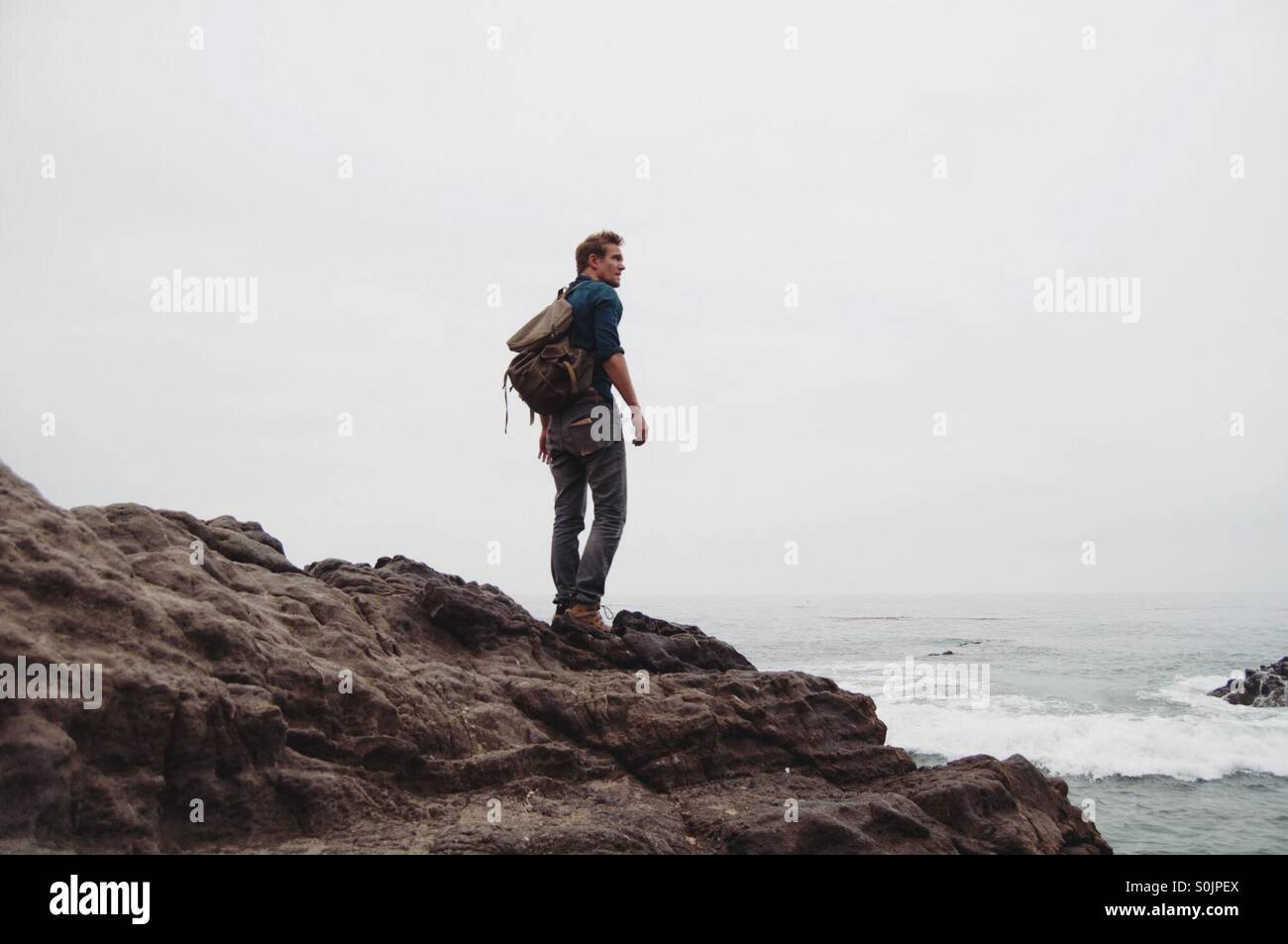 Stand here by the sea - Stock Image