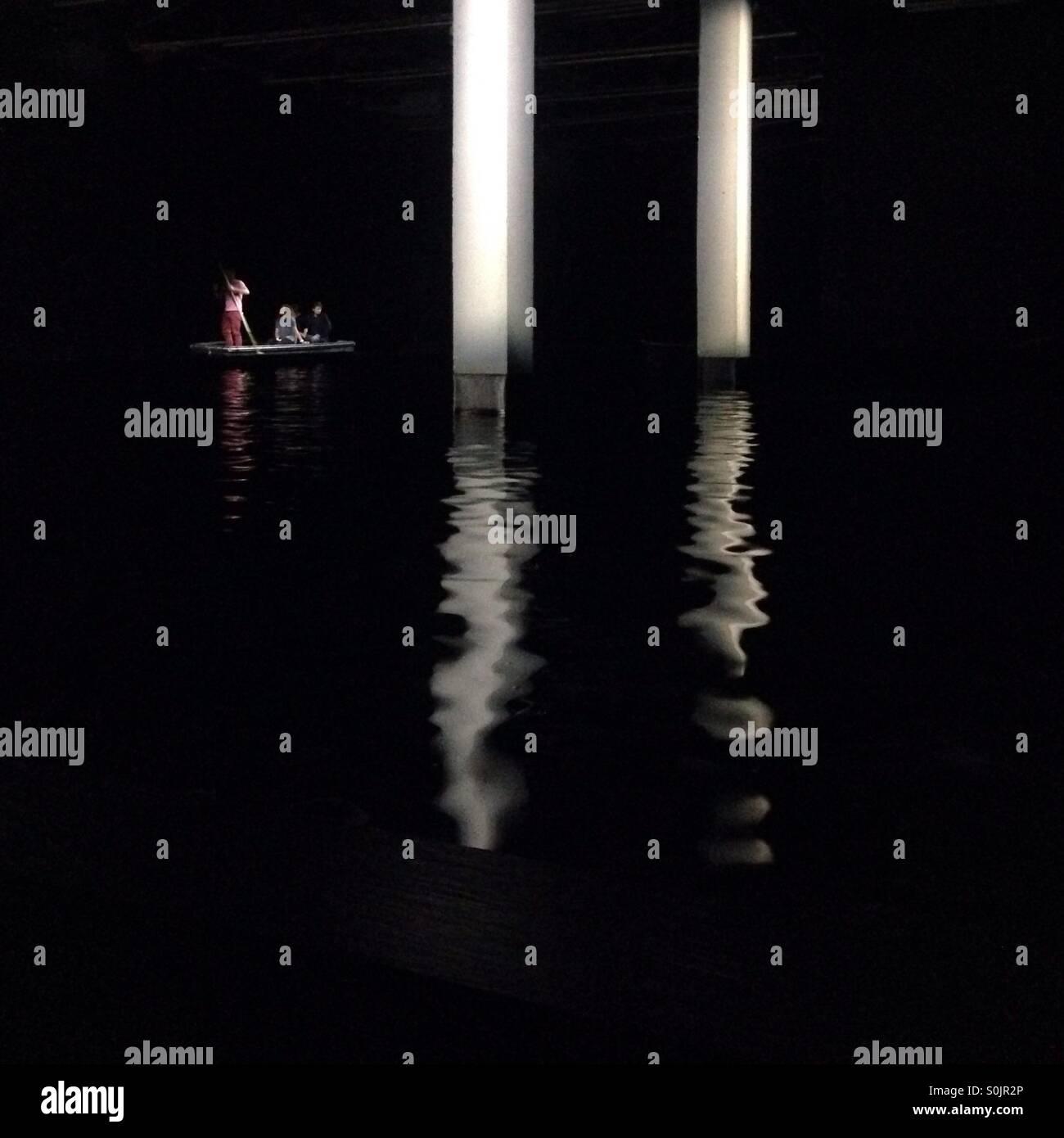Sailing darkness - Stock Image