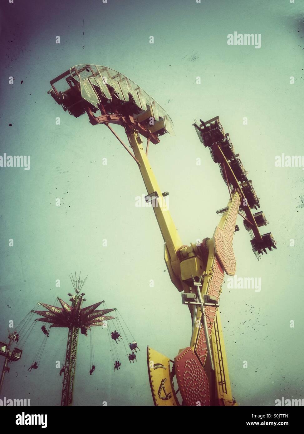Pharaoh fury. The swinging boat ride. - Stock Image