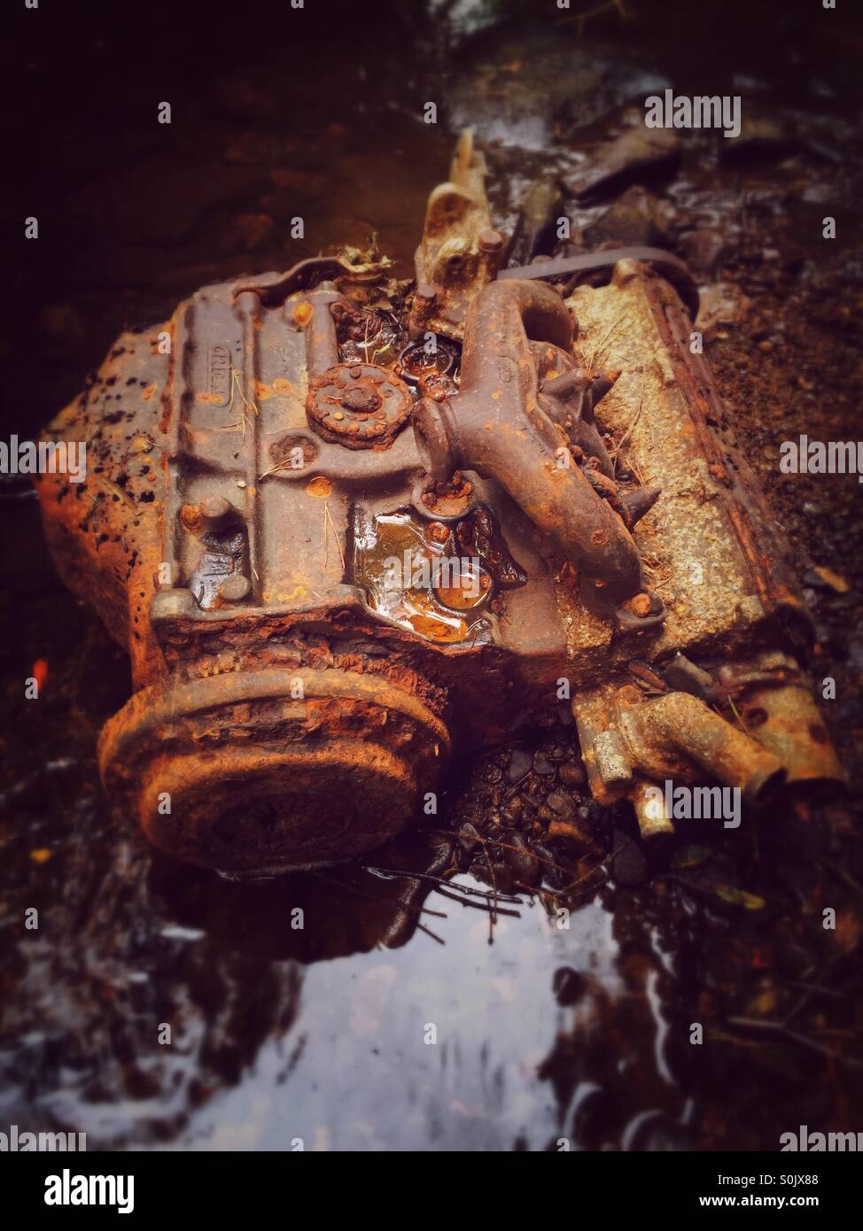 Rusting Engine, an old car engine that has been washed down a stream in the forest, slowly rusting away. - Stock Image