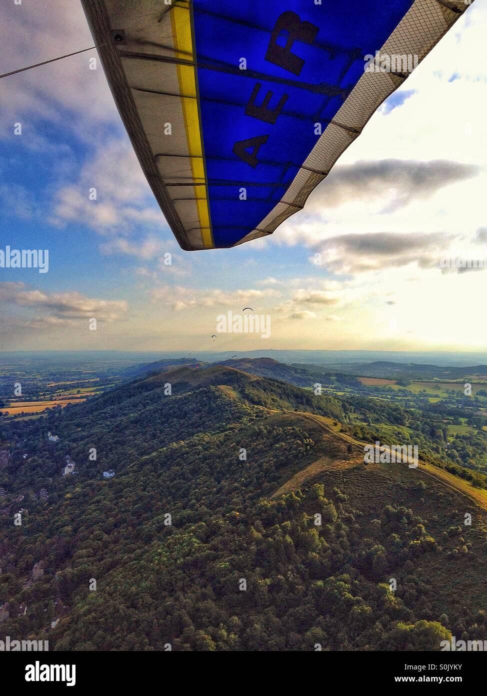 Hang gliding above the Malverns - Stock Image