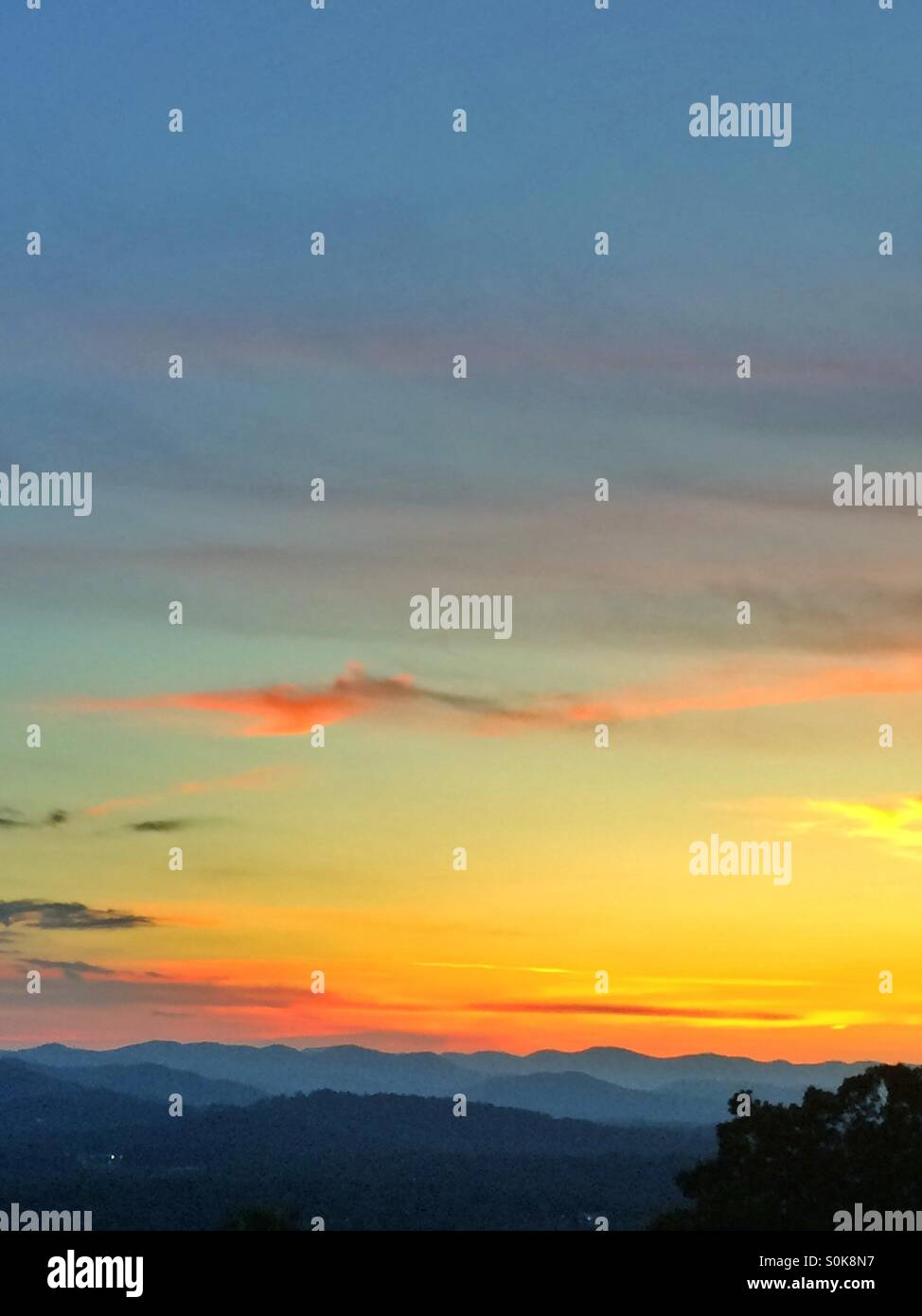 Sunset over the Blue Ridge Mountains at Asheville, North Carolina. - Stock Image
