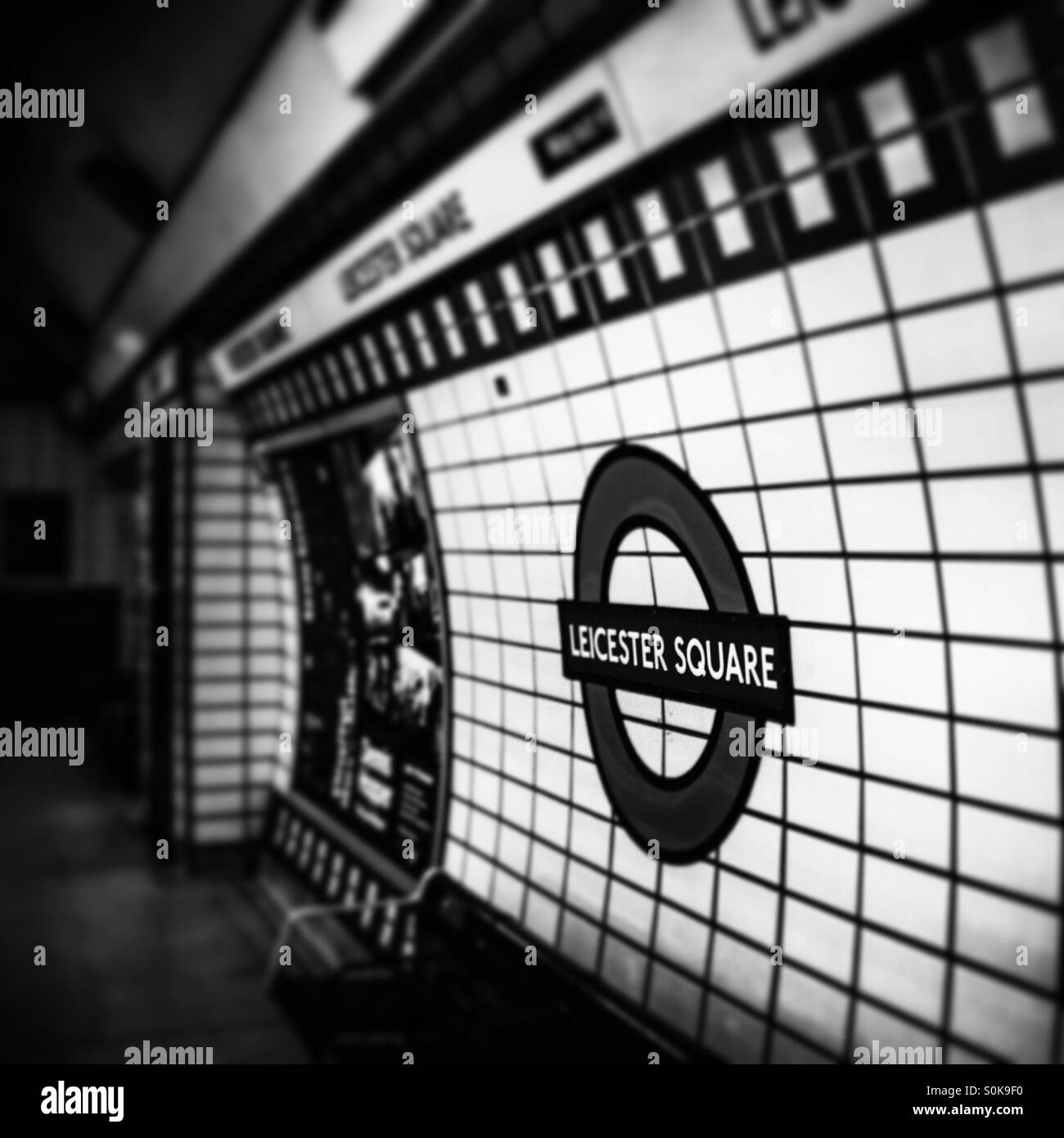 Leicester Square underground tube station at night - Stock Image