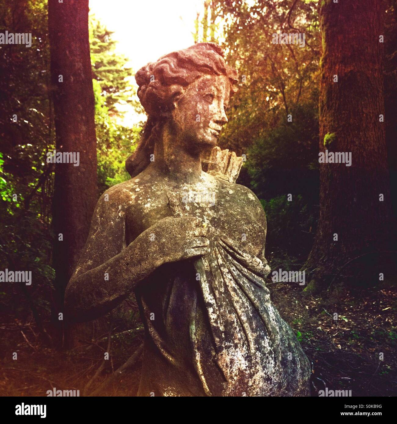 Old statue of the Roman goddess Diana in forested garden Stock Photo ...