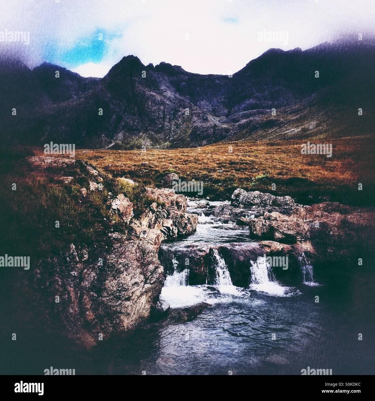 Fairy pools, Isle of Skye, textured filters - Stock Image