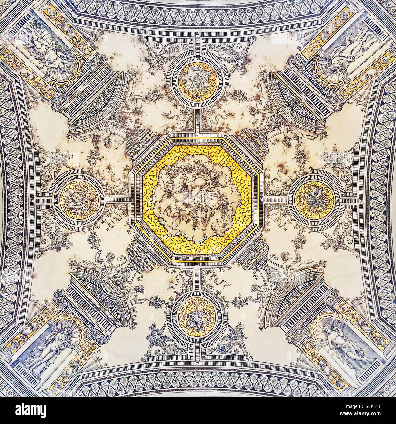 Entrance ceiling of the Hungarian State Opera House, Budapest, Hungary - Stock Image