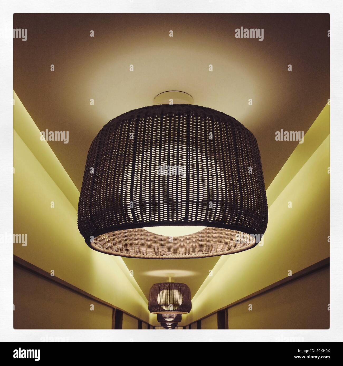 Lampshades stock photos lampshades stock images alamy lamp shades in a long hotel corridor stock image mozeypictures Choice Image