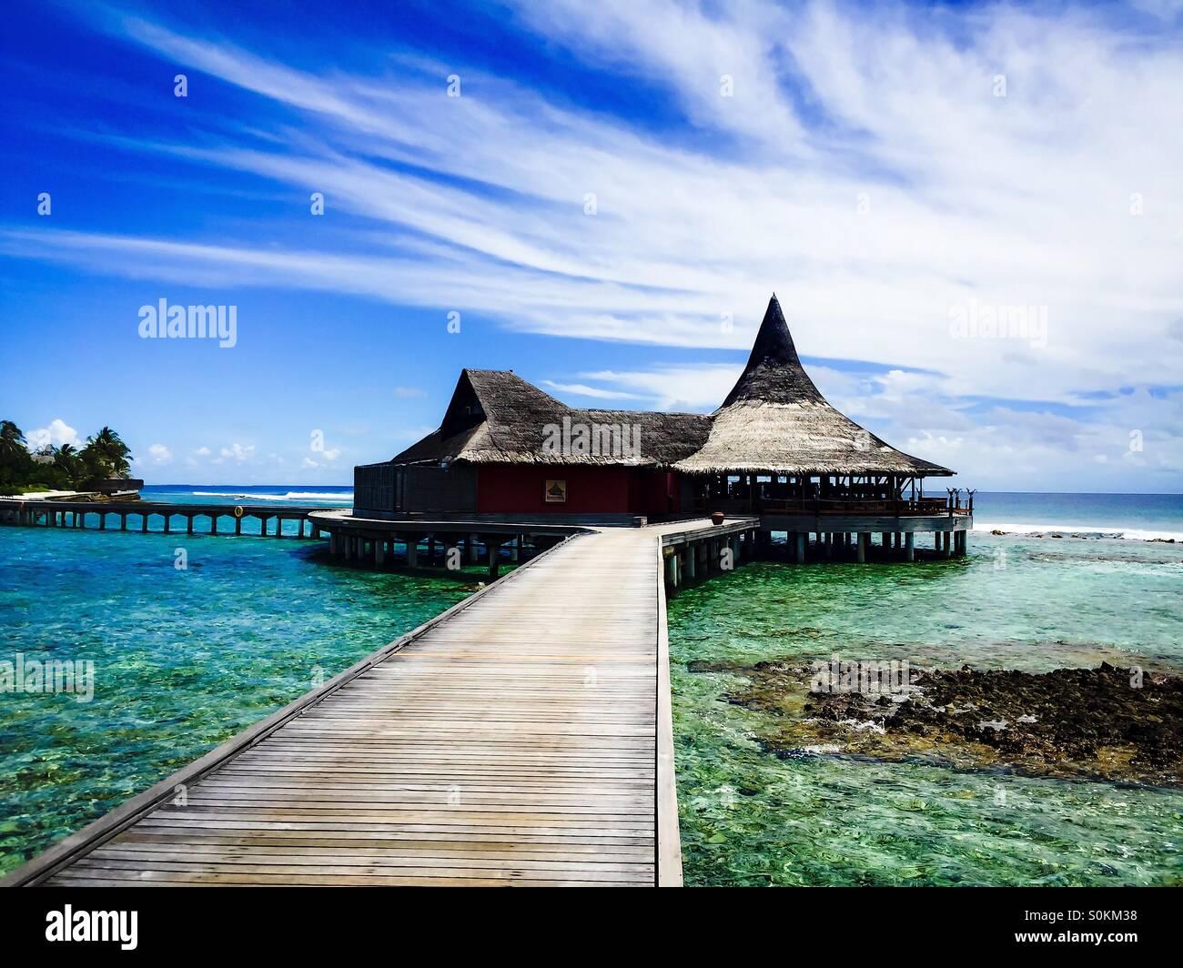 Maldives resort view of bar - Stock Image