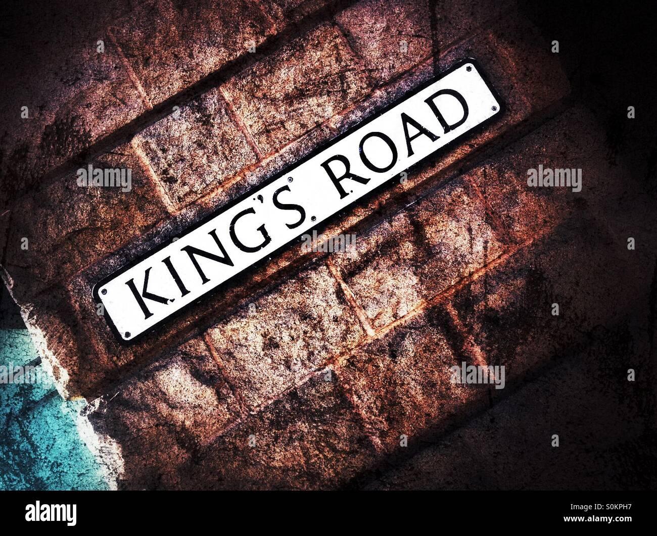 King's Road sign Harrogate North Yorkshire England UK - Stock Image