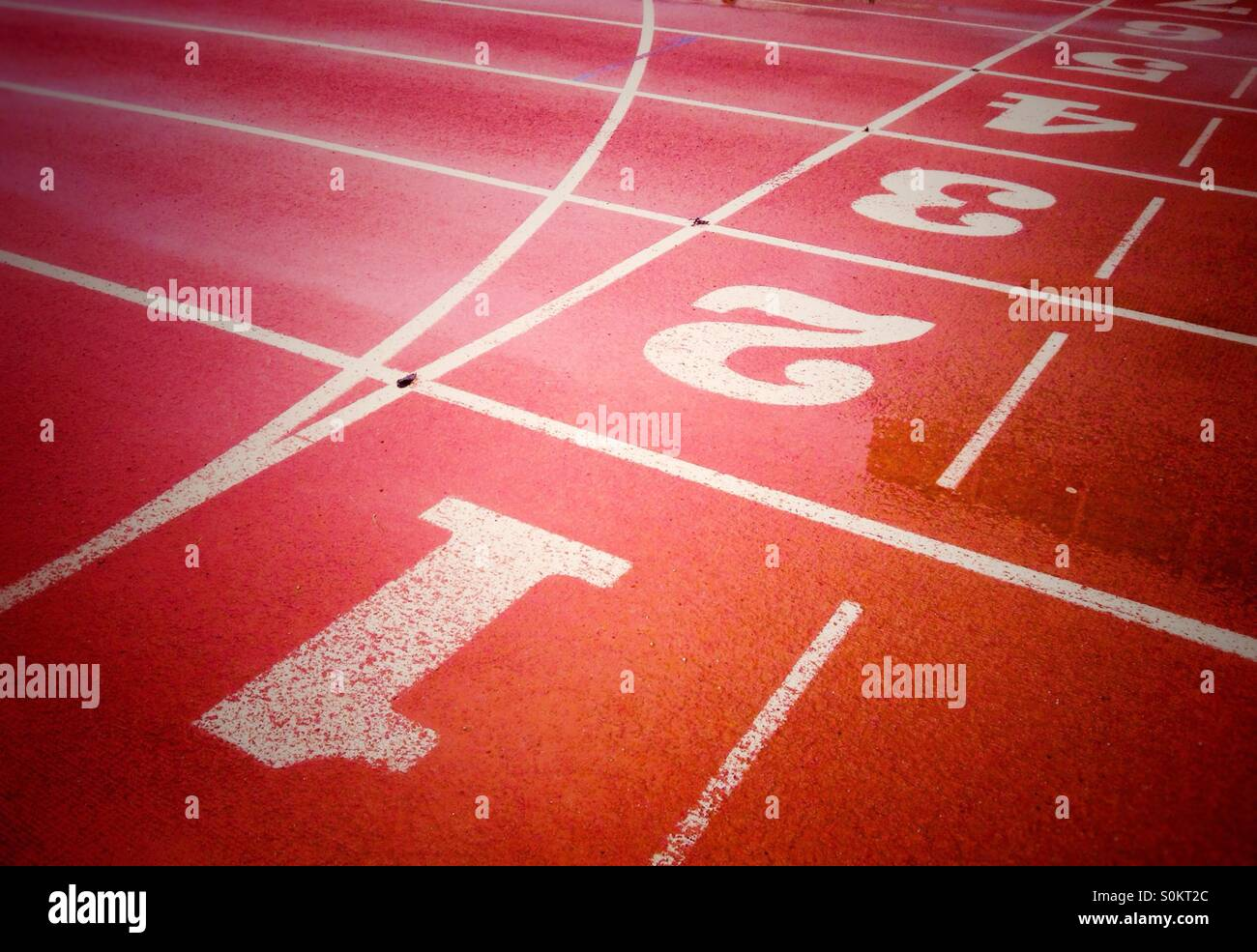 Running lanes of running track - Stock Image