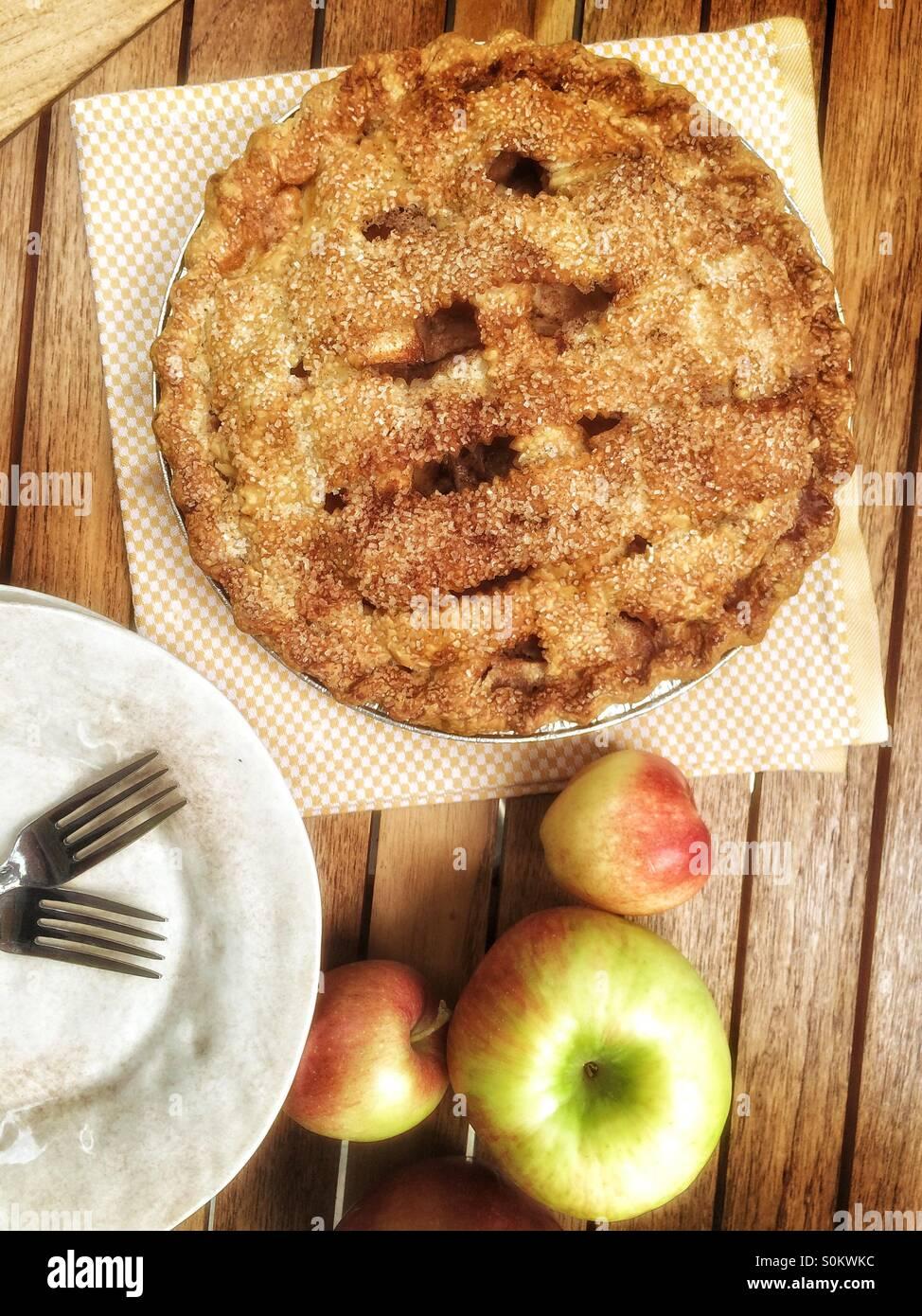 Apple pie with Massachusetts honeycrisp apples - Stock Image